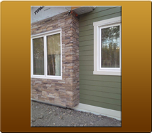 Stonework and green siding